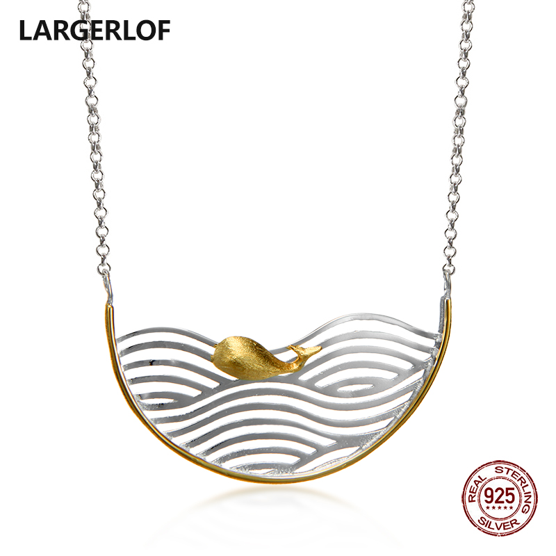LARGERLOF 925 Sterling Silver Pendant Necklace Women Fine Jewelry Silver 925 Jewelry Animal Necklace NK37050