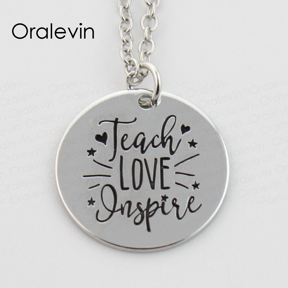 TEACH LOVE INSPIRE Memorial Pendant Charms Necklace Gift Jewelry 10Pcs/Lot,#LN378