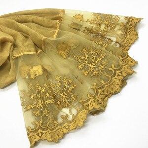 Image 5 - 1pc Solid color Two Sides Lace Women foulard hijab Shawl Muslim Scarf Nailed Pearl Plain Stitching Wrap Female Malaysia Hijab