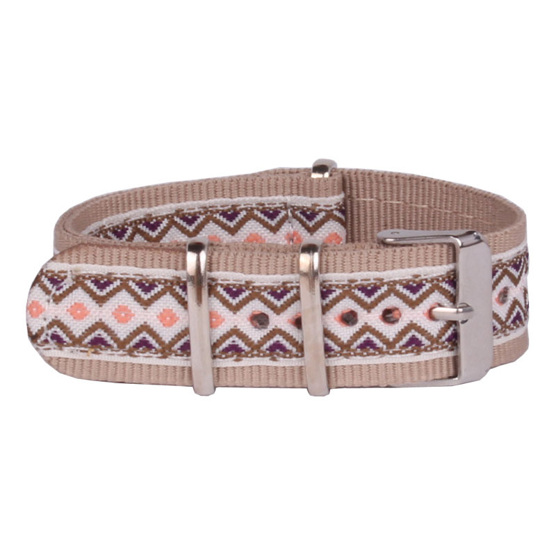 Color Cambo Stripe 20 Mm Strong Beige Vintage Folk Nato Fabric Nylon Watch Watchband Woven Strap Bands Buckle Belt 20mm N20H005