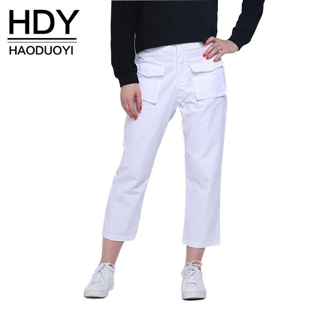 Hdy haoduoyi mulheres calças moda street style botão vermelho sólido de alta cintura dupla bolsos calças harem pants casuais macios