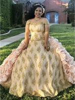 Plus Size Quinceanera Dresses Medieval Vintage Prom Dresses Taffeta Cascading Victorian Gold Appliques Beaded Sweets 15 Dress