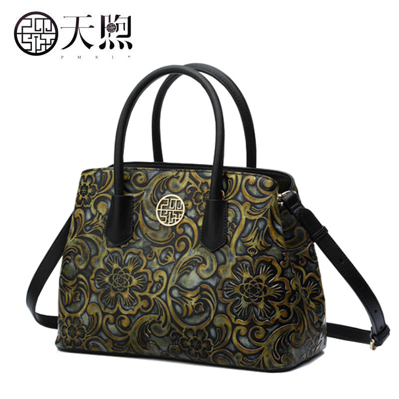 New women Genuine Leather bags fashion Embossed Flowers luxury tote handbags designer women leather handbags Crossbody bags classic black leather tote handbags embossed pu leather women bags shoulder handbags elegant