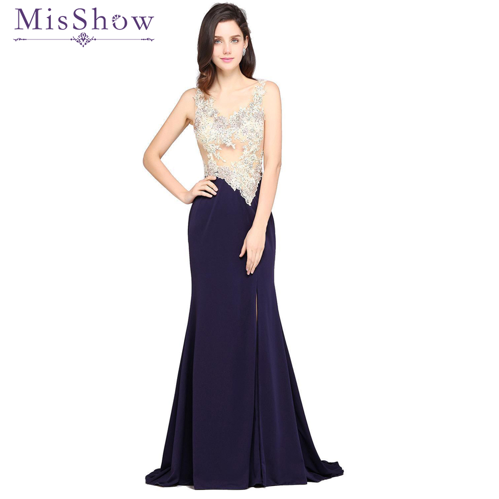 US size 6 8 10 Navy Blue Long Mermaid Prom Dress Evening Dresses 2018 Sexy See