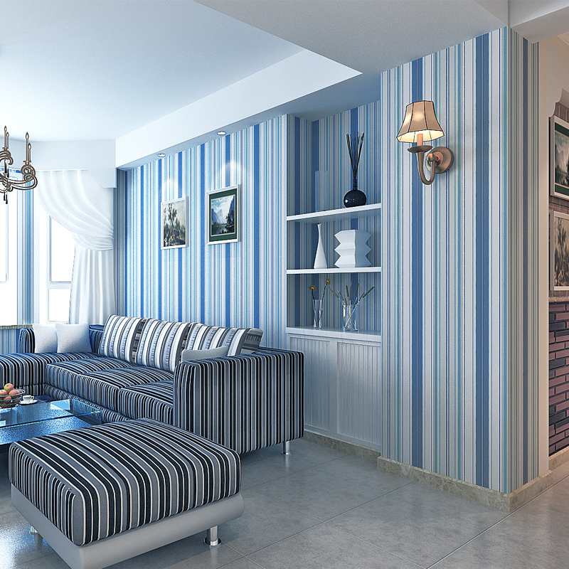 beibehang Mediterranean blue vertical stripes wallpaper minimalist living room background wallpaper modern den papel de parede beibehang shop for living room bedroom mediterranean wallpaper stripes wallpaper minimalist vertical stripes flocked wallpaper