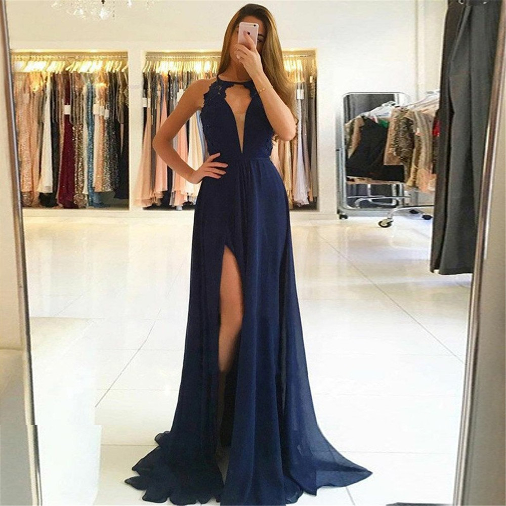 Navy Blue Long Wedding Guest   Dresses   2019 Backless High Split Lace Chiffon Cheap   Bridesmaid     Dress   Custom Made Women Party Gowns