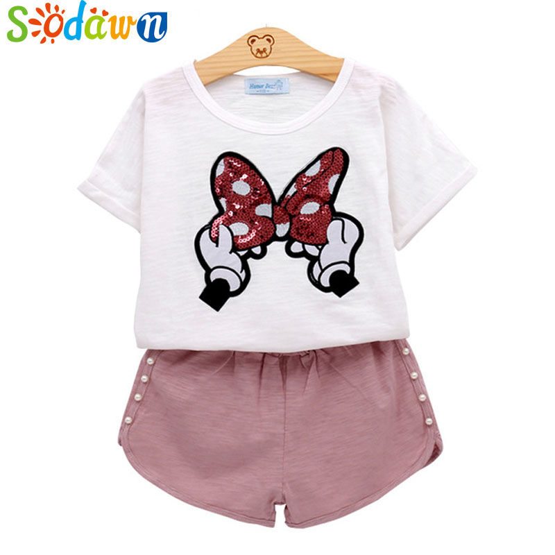 Sodawn baby girls clothes kids set fashion Bow short sleeve T-shirt +pant Baby girls clothing set kids cartoon clothes set 2018 kids girls clothes set baby girl summer short sleeve print t shirt hole pant leggings 2pcs outfit children clothing set
