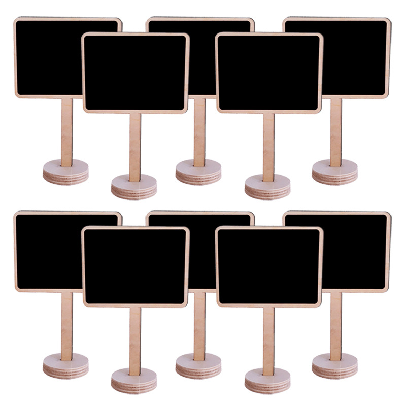 10 Pcs Creative Small Blackboard Mini Wooden Message Board Sign Chalkboards Insert Label Price Tag Flower Gardening Ornament