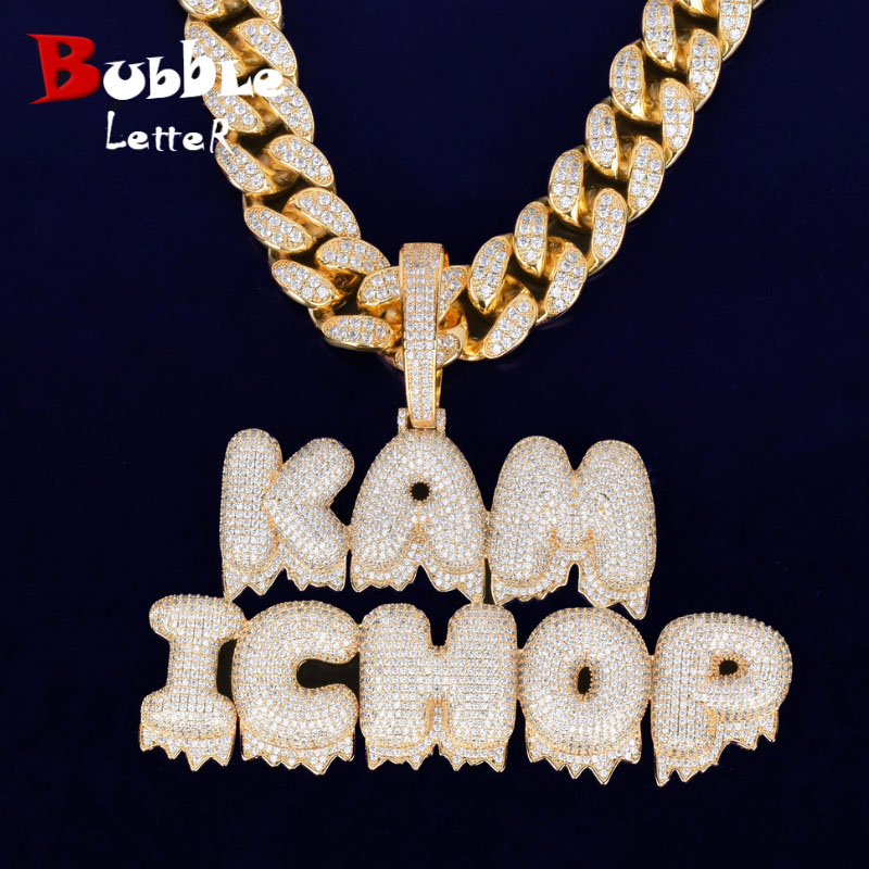 With 20MM Cuban Chain Custom Name Drip Bubble Letters Chain Pendants Necklaces Men's Zircon Hip Hop Jewelry For Gift