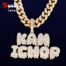 Custom Name Drip Blase Buchstaben Anhänger Halsketten Mit 20MM Kubanischen Kette männer Zirkon Hip Hop Schmuck Für Geschenk
