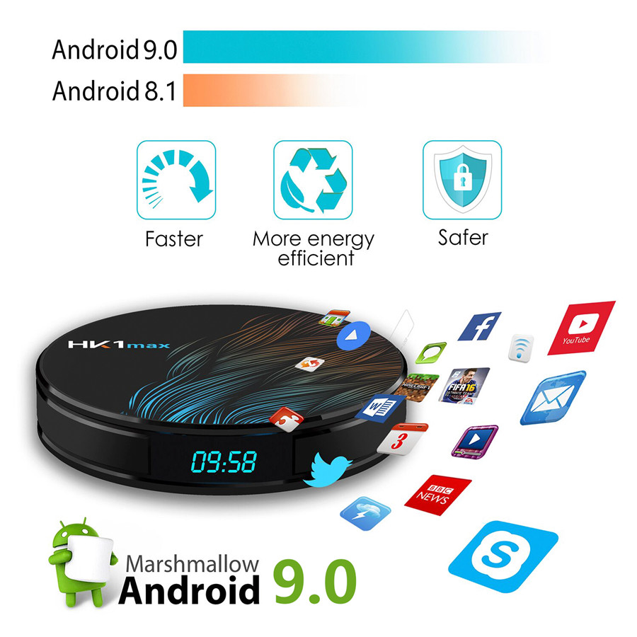 Android 9.0 Tv Box HK1 Max Rk3328 4 GB 64 GB 4 K 2.4 & 5.0 Wifi BT4.1 Google Play Netflix Media Player Android Box 9.0 décodeur