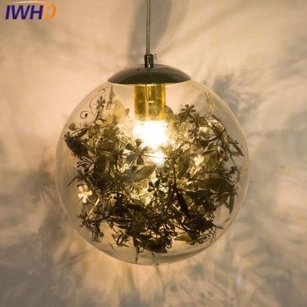 IWHD Nordic Style Modern Pendant Light Fixtures Glass Ball Led Hanglamp  Home Lighting Dining Room Bar Pendant Lights Lamparas