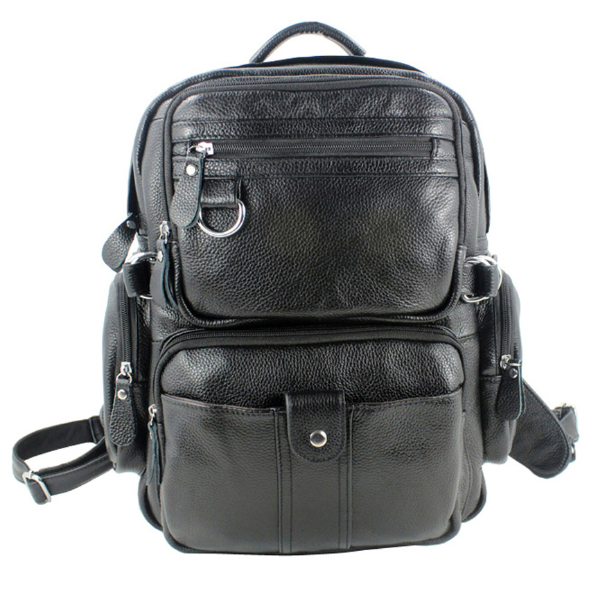 Fashion Backpack Men Genuine Leather Backpack men School Backpack Bag male backpack male Rucksack Knapsack Black
