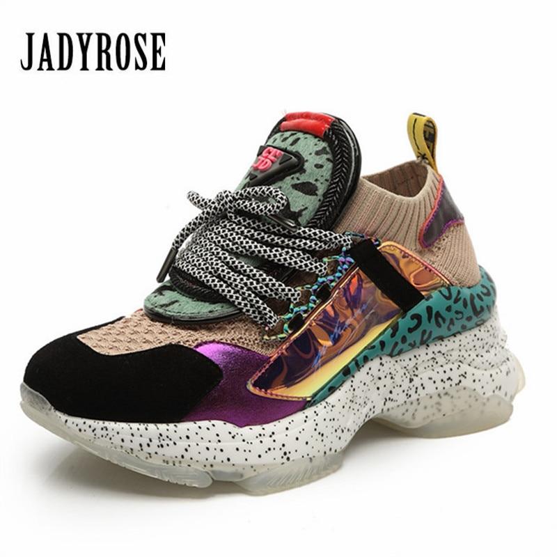 Jady Rose Colorful Women Sneakers Platform Creepers Casual Flat Shoes Woman Espadrilles Tenis Feminino Trainers Ladies