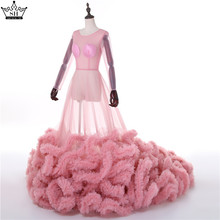 Sexy See Though Long Sleeves Evening Dress 2017 Real Picture Ruffles Cloud Cut Back Long Train Robe De Soiree Serene Hill