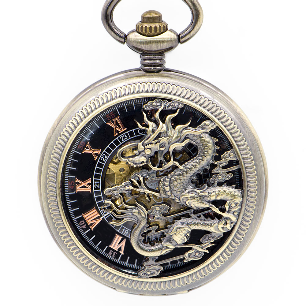 Top Brand Bronze Dragon Mechanical Pocket Watches Roman Numberals Skeleton Dial Unisex Pocket&Fob Watches for Men Women PJX1352