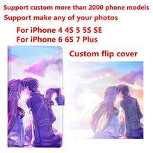 DIY Telefoon tas Gepersonaliseerde custom foto Foto pu case flip cover voor iPhone 4 4 S 5C 5 5 S SE 6 6 S 7 8 Plus X