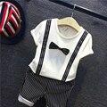 Fijado ropa 2-7y del niño ropa del niño de la ropa del muchacho corbata a rayas + top tees t-shirt 2 unidades