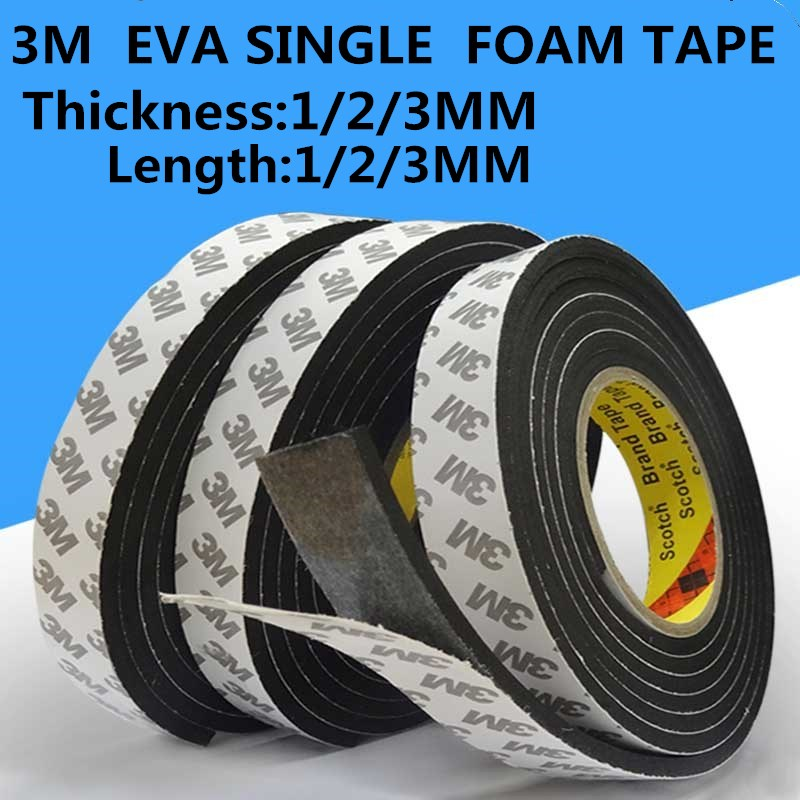 1/2/3mm Thick 5m Length 3M EVA Sponge Single - Sided Foam Tape Waterproof EVA Black Foam Tape Super Sticky