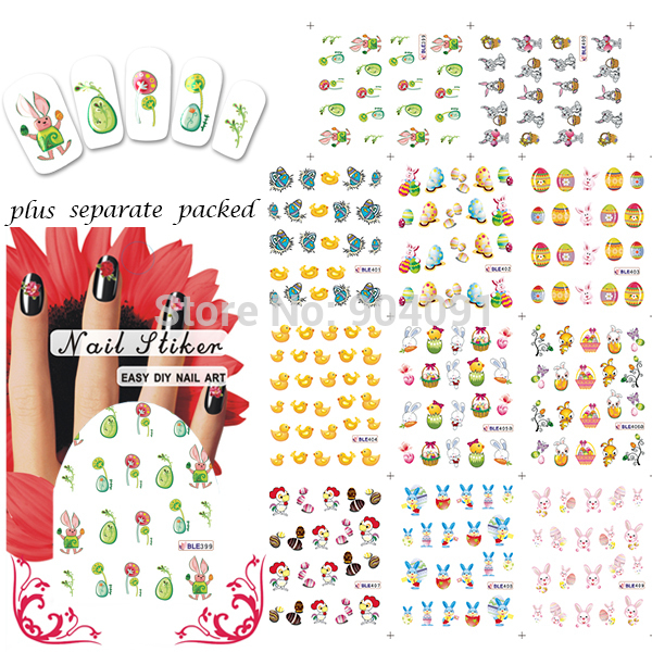 BeautyNailArt  90Sheet/lot Fashion Easter series Nail Sticker for water stickers for nails accessories