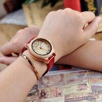 Reloj de madera bambú combinación color pulso cuero