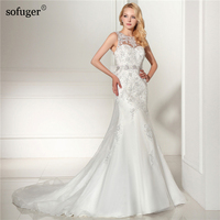 2018 Sleeveless Mermaid With Train Wedding Gowns Bridal Wedding Dress Bride Vestido De Noiva Glormous Appliques