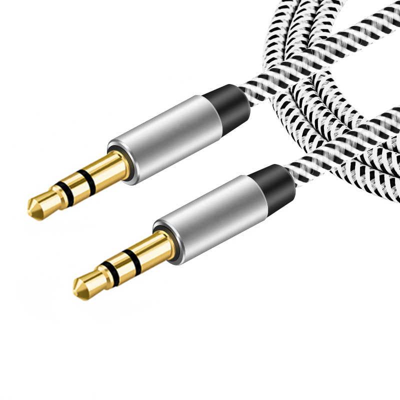1 M 2 M 3 M Nilon Jack Kabel Aux 3.5 Mm Ke 3.5 Mm Audio Kabel Pria untuk Pria kabel Emas Plug Mobil AUX Cord untuk Iphone Samsung Xiaomi
