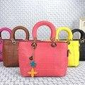2017 meninas de venda Quente bolsa de moda de nova simples carrinhos de flores bolsa de ombro portátil saco Do Mensageiro das mulheres pacote pequeno quadrado