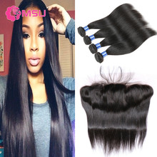 Brazilian Frontal Closure with 4 Bundles Straight Hair Weave Ali Julia Mink Brazilian Hair with