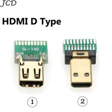 JCD 1pcs Micro HDMI connector female D TYPE tester with PCB board HDMI Jack with PCB board Gold-Plated(China)