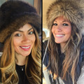 Moda Dama Rusa Casquillo Hecho Punto Invierno de Las Mujeres de Imitación de Piel de Conejo Caliente de la Gorrita Tejida Tapas Señoras Sombrero de Piel Sombrero Femenino Gorra de F1