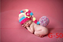 2015 Soft New newbosrn Baby Costume Photography Prop Colorful long Flower Hat Infant Cute Fashion Girl Knit Crochet