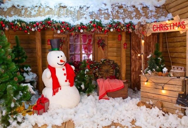 Laeacco Christmas Tree Farm Wooden House Snowman Baby ...