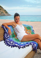 Wholesale Polygonal Wool Ball Beach Towel Tassel Colorful Beach Towel Yoga Mat Sun Cape Wrapped Skirt