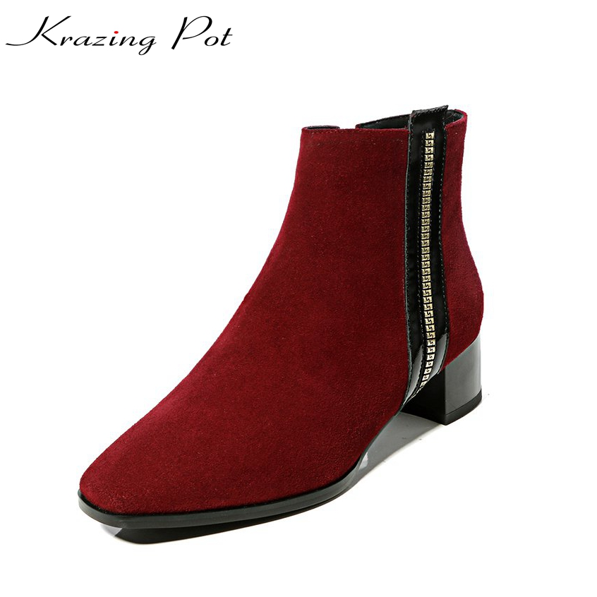 Krazing pot sheep suede square toe thick med heels zipper decoration woman winter shoes runway short office lady ankle boots L15 krazing pot empty after shallow shoes woman lace work flats pointed toe slip on sheep suede causal summer outside slippers l16