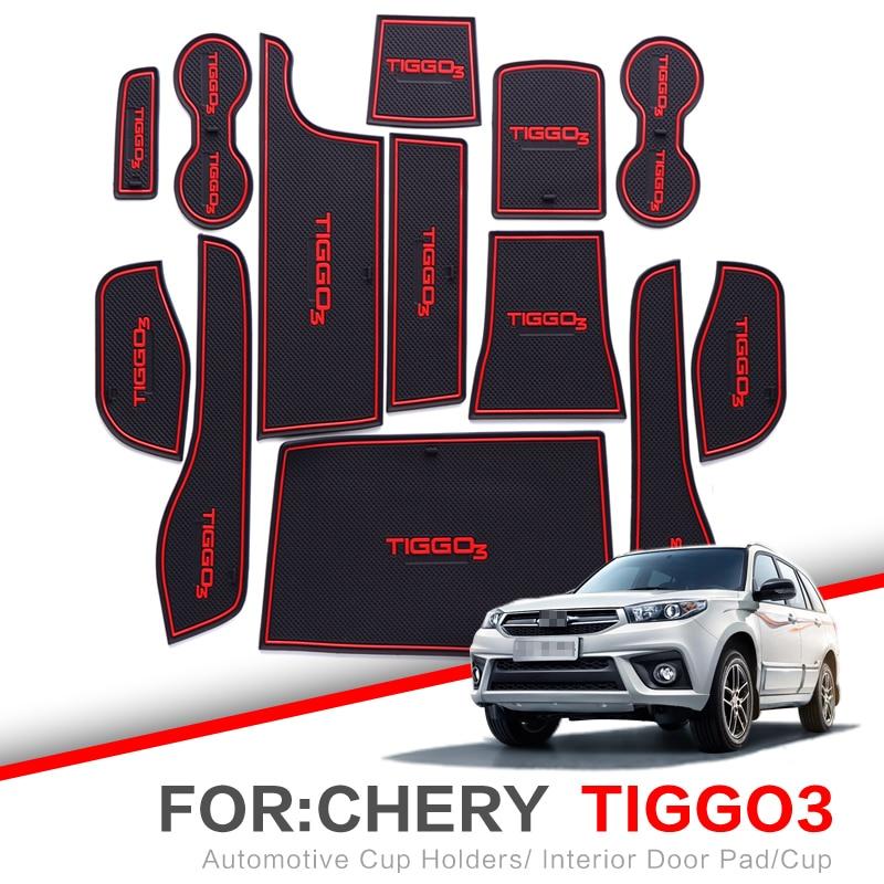 ZUNDUO Gate slot pad For For Chery Tiggo 3 2014-2018 TIGGO3 Accessories,3D Rubber Car Mat Interior Door Pad/Cup Holders(China)