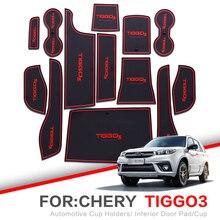 ZUNDUO Porta slot pad Per Per di Chery Tiggo 3 2014-2018 TIGGO3 Accessori, 3D Gomma Auto Zerbino Porta per Interni Pad/Tazza Titolari
