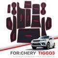 Zunduo 게이트 슬롯 패드 chery tiggo 3 2014-2018 tiggo3 액세서리, 3d 고무 자동차 매트 인테리어 도어 패드/컵 홀더