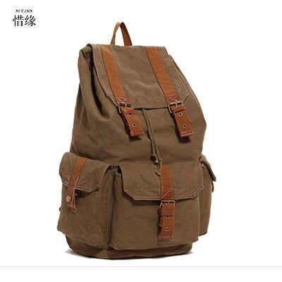XI юаней бренда Для мужчин холст рюкзак Винтаж школы дорожная сумка рюкзак Повседневная отдыха и путешествий сумка Для мужчин ноутбук Рюкзаки подарок мужчине