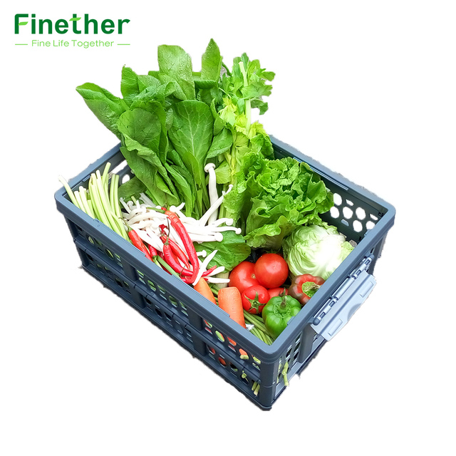 Finether Collapsible Utility Plastic Storage Container Crate Box Basket  FOLD STORAGE CRATE With Detachable Waterproof Bag