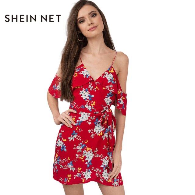 e050d7ab3 Sheinnet Vestuário Vermelho Estampado Floral Babado Cold Shoulder Mini  Vestido Roupas Femininas Casuais Vestido Boho Vestido