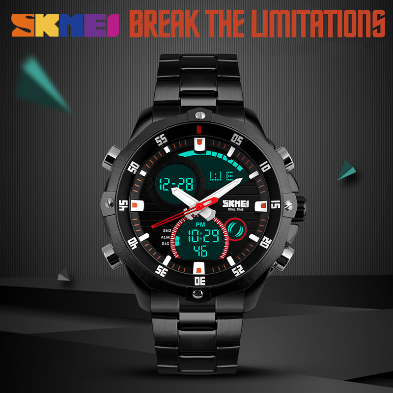 SKMEI Digital Quartz Watch Men 30M Waterproof LED Clock Male Wristwatches Stainless Steel Strap Mens Sports Watches Erkek Saat hoska hd030b children quartz digital watch