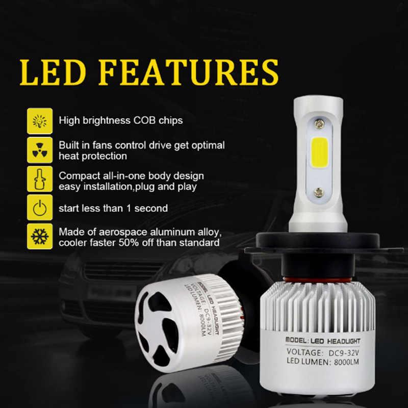 YOUEN LED 8000 k S2 H4 H7 H1 COB LED Đèn Pha Bóng Đèn H11 H13 12 v 9005 9006 H3 9004 9007 9012 72 wát 8000LM Xe LED đèn Xe Tạo Kiểu