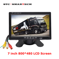 SMARTECH 7 inch 800*480 LCD Screen Monitor, Car Rear View Monitor Kit 2 Video input Power Night Vision Backup Reverse Camera