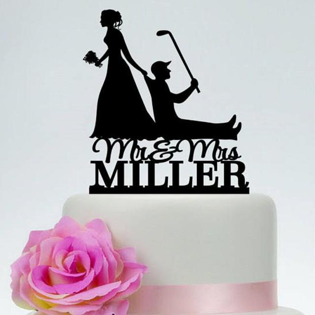Golf Cake Topper Bride Pulling Groom Bride Dragging Groom Funny - Funny Wedding Cakes Images
