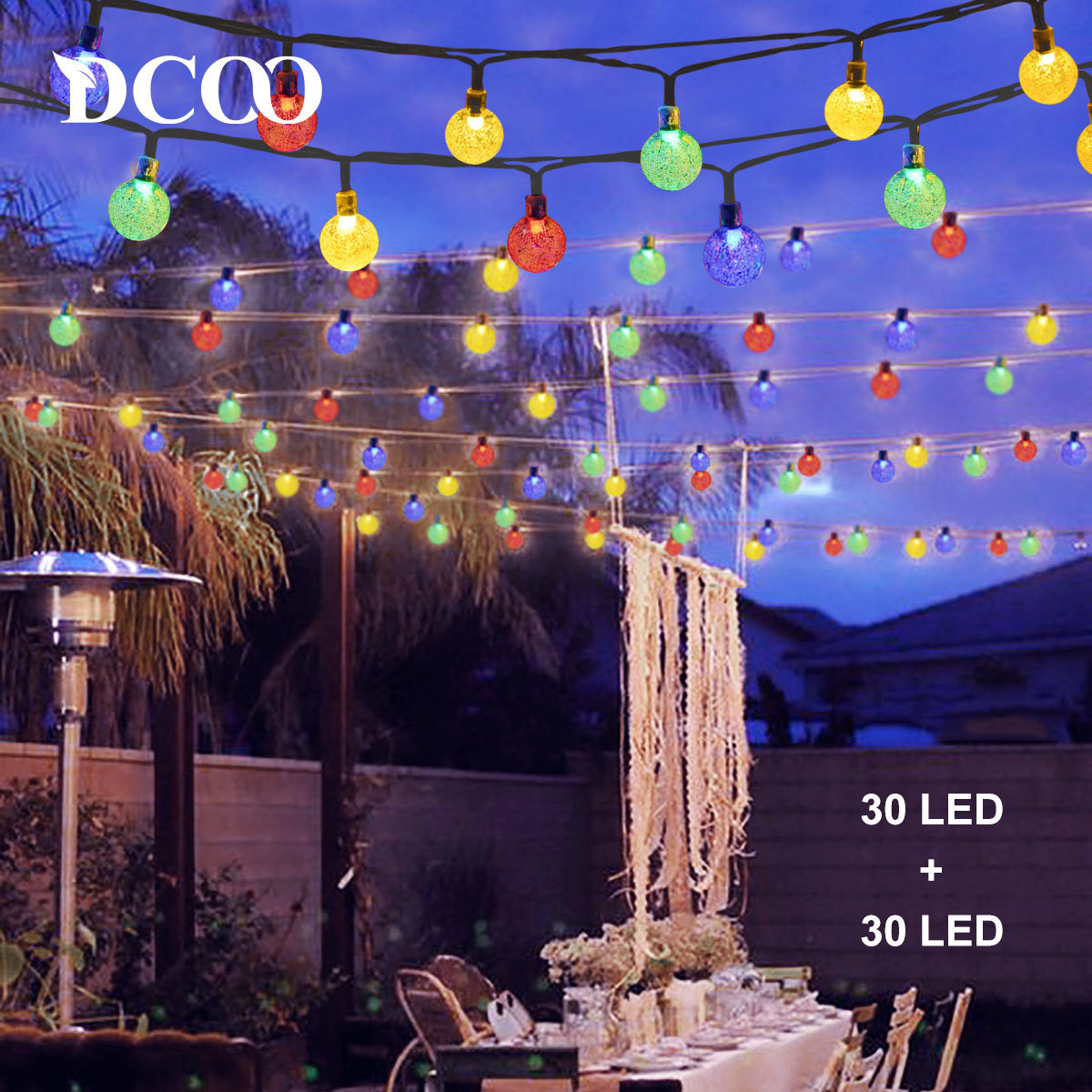 Dcoo 2 pices solaire aliment globe led chane lumires 30 led dcoo 2 pieces solar powered string lights 30 leds lights outdoor globe ball sloar string party aloadofball Choice Image