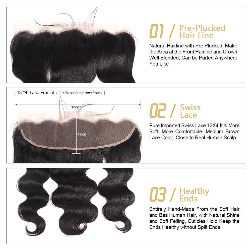 Funmi paquetes de pelo malayo con Frontal 3 piezas paquetes de onda del cuerpo con Frontal 100% virgen paquetes de cabello humano con 13 4X4 Frontal