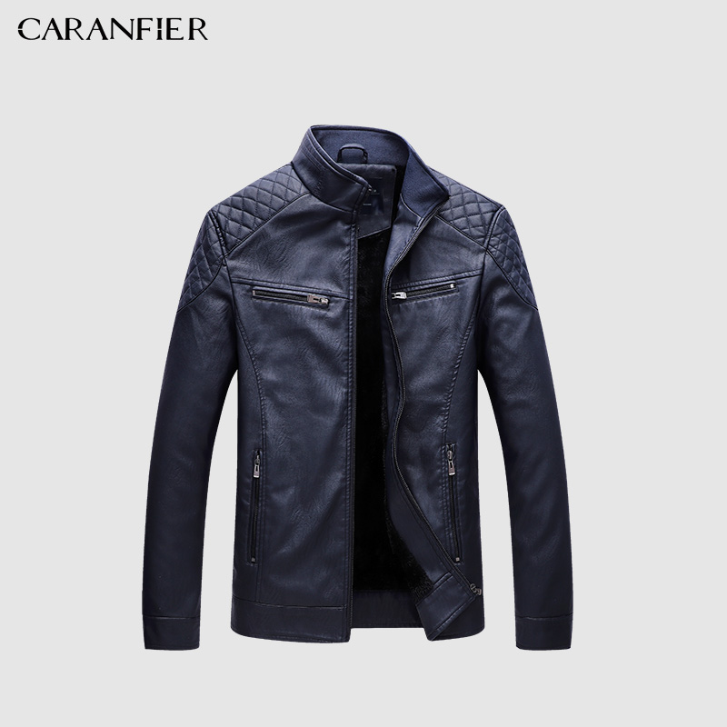 CARANFIER Faux Leather New Men Jacket 2018 Velvet Fashion PU Leather 5XL Casual Solid Leather Jacket Mens Jaqueta De Couro 5XL
