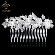 TREAZY Silver Color Pearl Crystal Floral Hair Combs Wedding Tiara Flower Hair Pins Women Hair Jewelry Bridal Hair Accessories