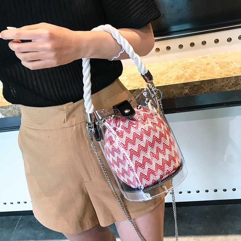 Summer Clear Bucket Crossbody Bags for Women 2018 Jelly Plastic Handbag Mini Purse Chain Rivet String Travel Beach Shoulder Bags